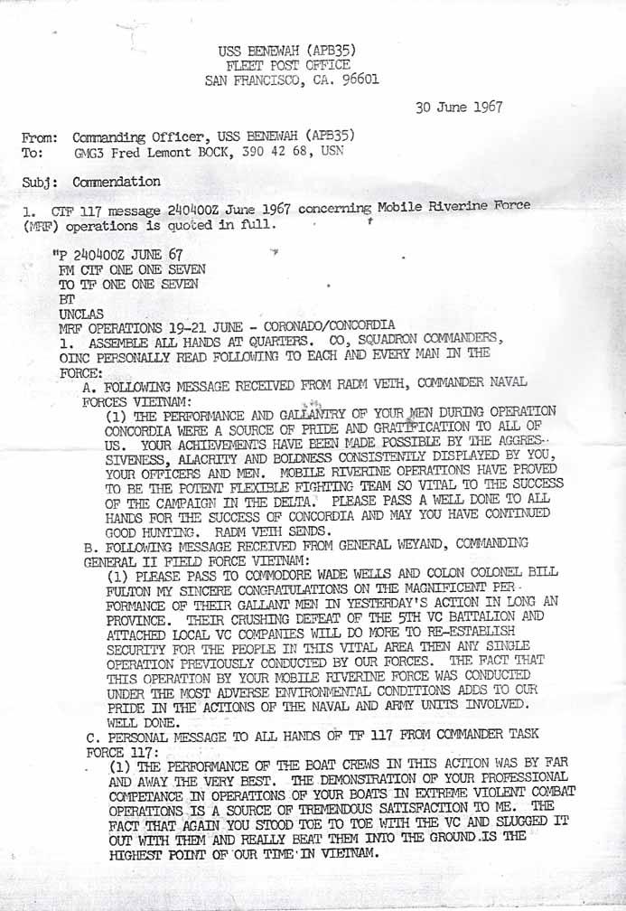 Letter of mendation – The Mobile Riverine Force Association
