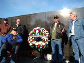 "Veterans Day 2007 L-R Tom Paquette in Wheel Chair Wreath Charlie ""Boats""Ardinger . Bob ""Doc"" Pries"