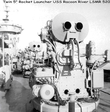 Photo credit: Unknown, probably official U.S. Navy. This photo shows the front of the launcher, launcher tubes and blast shield, manual train wheel and the base part—a standard 40MM gun mount.