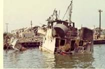 YFU-78 by DaNang Bridge Ramp after attack.