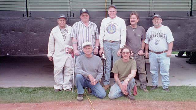 Our 2/17/01 work party: Standing L to R: Ben Cueva, Charles Campbell, Don Blankenship, Dutch Hearne and Bill Hunsinger. Kneeling L to R: Everett Jones and David Hearne and work party member Neil Geis behind the camera. Thanks Neil for the photo.